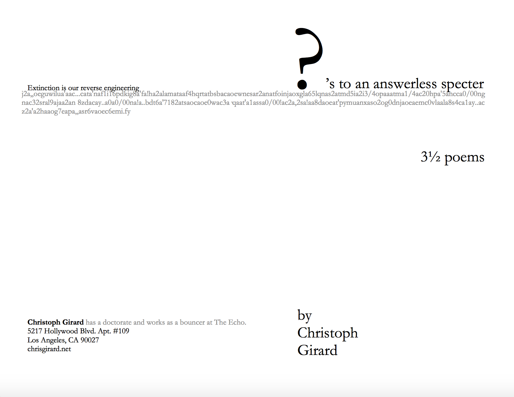 Questions to an Answerless Specter, collage poems by Chris Girard